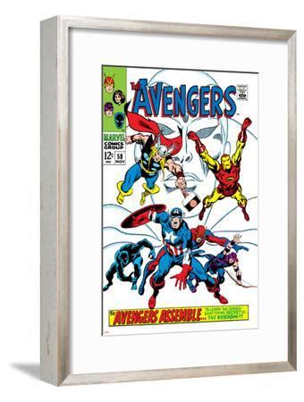 Giant-Size Avengers No.1 Cover: Thor, Iron Man, Captain America and Black Panther-John Buscema-Framed Art Print
