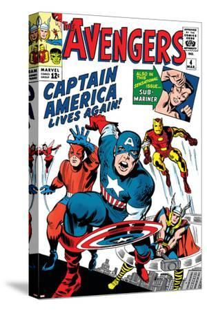Avengers Classic No.4 Cover: Captain America, Iron Man, Thor, Giant Man and Wasp-Jack Kirby-Stretched Canvas Print