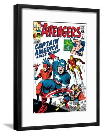 Avengers Classic No.4 Cover: Captain America, Iron Man, Thor, Giant Man and Wasp-Jack Kirby-Framed Art Print