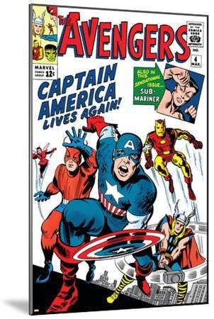 Avengers Classic No.4 Cover: Captain America, Iron Man, Thor, Giant Man and Wasp-Jack Kirby-Mounted Art Print