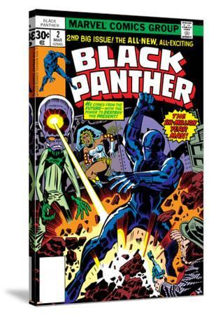 Black Panther No.2 Cover: Black Panther, Princess Zanda and Hatch-22 Charging-Jack Kirby-Stretched Canvas Print