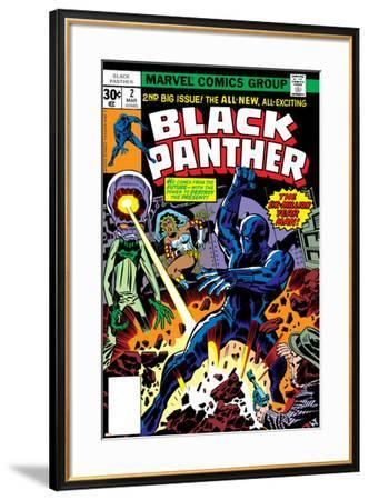 Black Panther No.2 Cover: Black Panther, Princess Zanda and Hatch-22 Charging-Jack Kirby-Framed Art Print