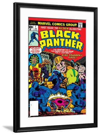 Black Panther No.1 Cover: Black Panther, Little, Abner and Princess Zanda Fighting-Jack Kirby-Framed Art Print