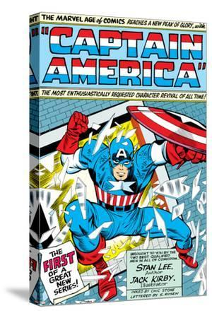 Marvel Comics Retro: Captain America Comic Panel; Smashing through Window; Red, White and Blue--Stretched Canvas Print