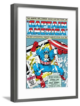 Marvel Comics Retro: Captain America Comic Panel; Smashing through Window; Red, White and Blue--Framed Art Print