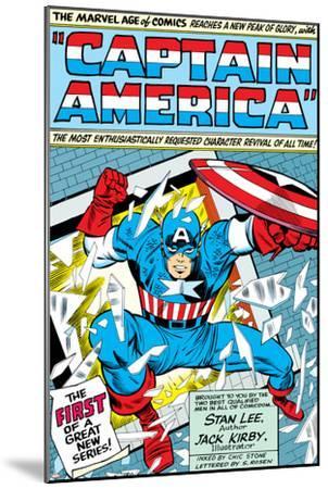 Marvel Comics Retro: Captain America Comic Panel; Smashing through Window; Red, White and Blue--Mounted Art Print