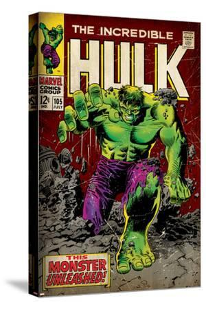 Marvel Comics Retro: The Incredible Hulk Comic Book Cover No.105 (aged)--Stretched Canvas Print