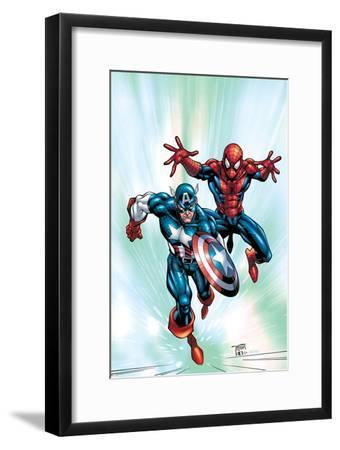 Marvel Age Team Up No.2 Cover: Spider-Man and Captain America Fighting and Flying-Randy Green-Framed Art Print