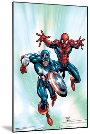Marvel Age Team Up No.2 Cover: Spider-Man and Captain America Fighting and Flying-Randy Green-Mounted Art Print