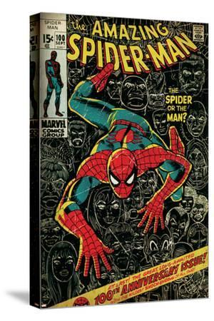 Marvel Comics Retro: The Amazing Spider-Man Comic Book Cover No.100, 100th Anniversary Issue (aged)--Stretched Canvas Print