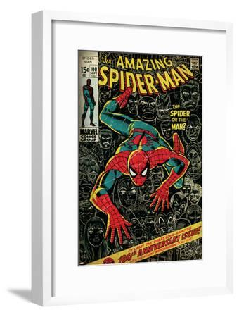 Marvel Comics Retro: The Amazing Spider-Man Comic Book Cover No.100, 100th Anniversary Issue (aged)--Framed Art Print