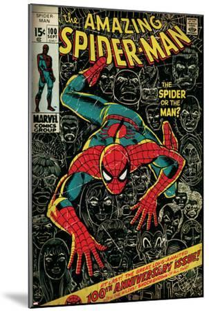 Marvel Comics Retro: The Amazing Spider-Man Comic Book Cover No.100, 100th Anniversary Issue (aged)--Mounted Art Print