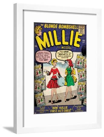 Marvel Comics Retro: Millie the Model Comic Book Cover No.100, How Millie First Met Chili! (aged)--Framed Art Print