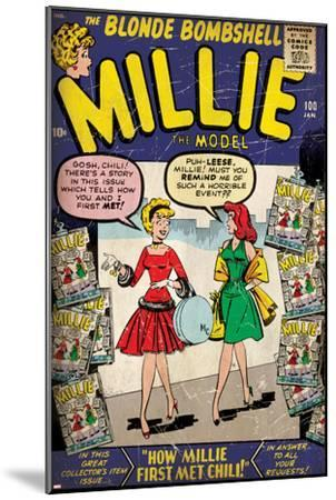 Marvel Comics Retro: Millie the Model Comic Book Cover No.100, How Millie First Met Chili! (aged)--Mounted Art Print