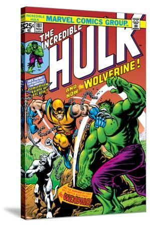 Marvel Comics Retro: The Incredible Hulk Comic Book Cover No.181, with Wolverine and the Wendigo--Stretched Canvas Print