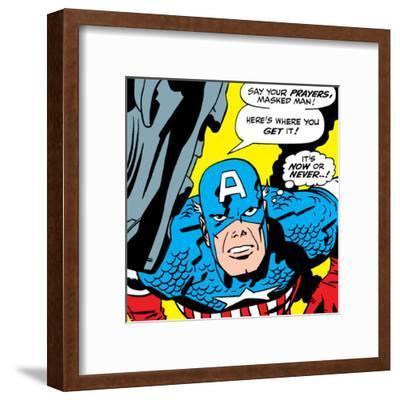 Marvel Comics Retro: Captain America Comic Panel, Villain Monologue, Say your Prayers--Framed Art Print
