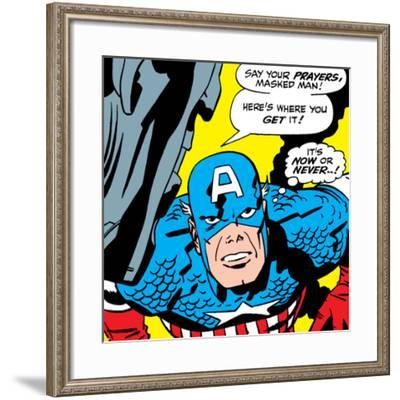 Marvel Comics Retro: Captain America Comic Panel, Villain Monologue, Say your Prayers--Framed Art Print