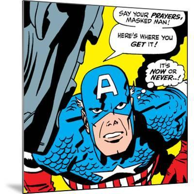 Marvel Comics Retro: Captain America Comic Panel, Villain Monologue, Say your Prayers--Mounted Art Print
