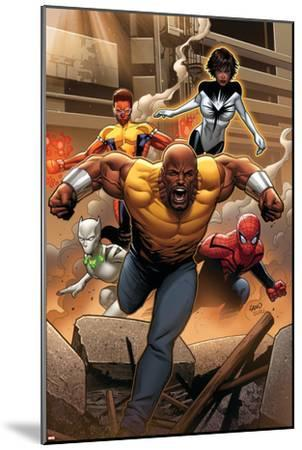 Mighty Avengers #1 Cover: Cage, Like, White Tiger, Spider-Man, Power Man, Spectrum-Greg Land-Mounted Art Print