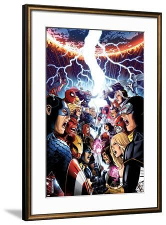 Avengers Vs. X-Men No.1 Cover: Captain America, Cyclops, Emma Frost, Gambit and Others Screaming-Jim Cheung-Framed Art Print