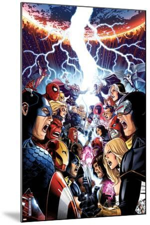 Avengers Vs. X-Men No.1 Cover: Captain America, Cyclops, Emma Frost, Gambit and Others Screaming-Jim Cheung-Mounted Art Print