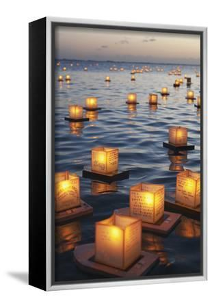 Annual Lantern Floating Ceremony During Sunset at Ala Moana; Oahu, Hawaii, United States of America-Design Pics Inc-Framed Stretched Canvas Print