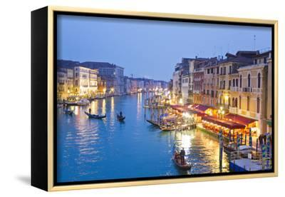 Outdoor Cafes and Gondolas Line Venice's Grand Canal Reflecting City Lights at Dusk-Mike Theiss-Framed Stretched Canvas Print