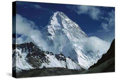 The North Face of K2 from K2 Glacier, 2nd Highest Peak in the World, Karakoram, Xinjiang, China-Colin Monteath/Minden Pictures-Framed Stretched Canvas Print