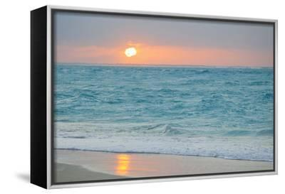 Sunset in Paradise over the Caribbean and on a Beach-Mike Theiss-Framed Stretched Canvas Print