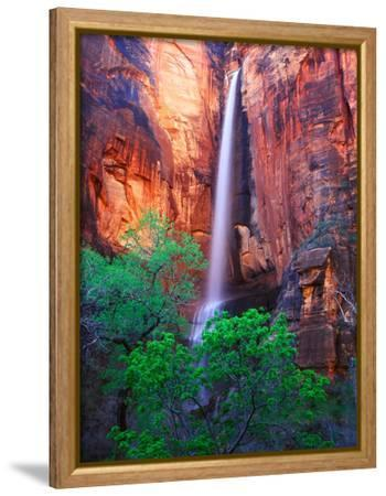 Heavy Spring Run Off Creating a Seldom Seen Waterfall in Zion National Park-Keith Ladzinski-Framed Stretched Canvas Print