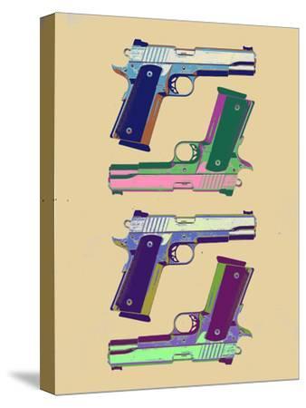 Guns Amber Pop Art Poster--Stretched Canvas Print