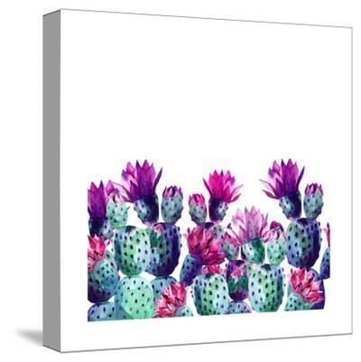 Watercolor Cactus-tanycya-Stretched Canvas Print