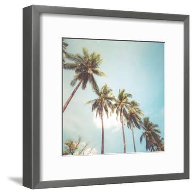 Coconut Palm Tree on Tropical Beach in Summer - Vintage Colour Effect-jakkapan-Framed Art Print