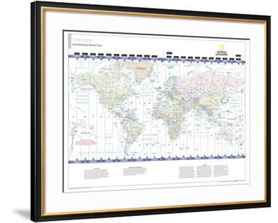 2014 Time Zones - National Geographic Atlas of the World, 10th Edition--Framed Art Print