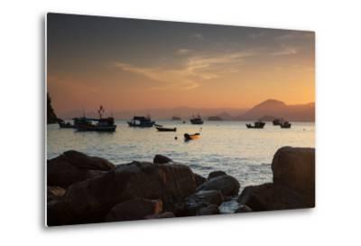 Fishermen's Boats Float Off the Coast of Praia Da Picinguaba, Ubatuba, Brazil-Alex Saberi-Metal Print