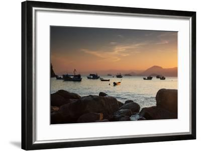 Fishermen's Boats Float Off the Coast of Praia Da Picinguaba, Ubatuba, Brazil-Alex Saberi-Framed Photographic Print