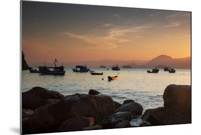 Fishermen's Boats Float Off the Coast of Praia Da Picinguaba, Ubatuba, Brazil-Alex Saberi-Mounted Photographic Print