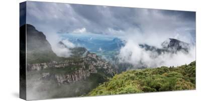Morro Da Igreja Rocks in the Clouds and Mists Near Urubici in Santa Catarina, Brazil-Alex Saberi-Stretched Canvas Print