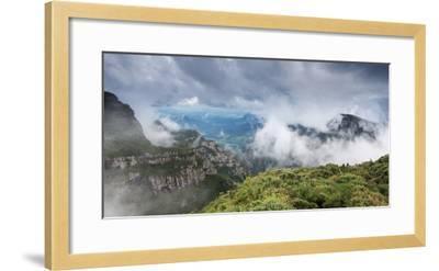 Morro Da Igreja Rocks in the Clouds and Mists Near Urubici in Santa Catarina, Brazil-Alex Saberi-Framed Photographic Print