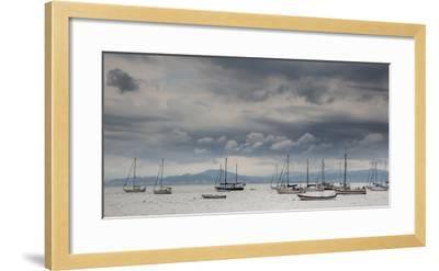 Fishing Boats Line Up Near the Coast of Florianopolis Island in Santa Catarina, Brazil-Alex Saberi-Framed Photographic Print