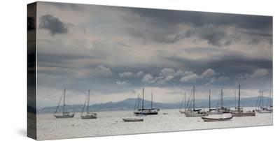 Fishing Boats Line Up Near the Coast of Florianopolis Island in Santa Catarina, Brazil-Alex Saberi-Stretched Canvas Print