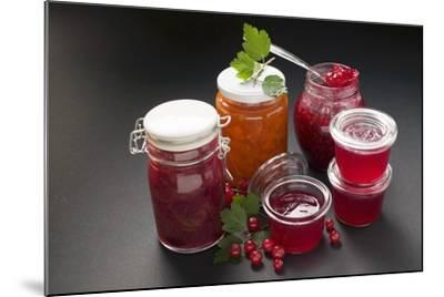 A Selection of Jams and Jelly in Jars, Redcurrants and Leaves-Foodcollection-Mounted Photographic Print