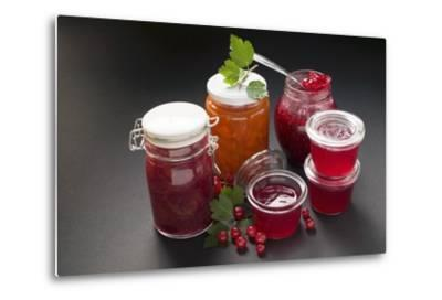 A Selection of Jams and Jelly in Jars, Redcurrants and Leaves-Foodcollection-Metal Print