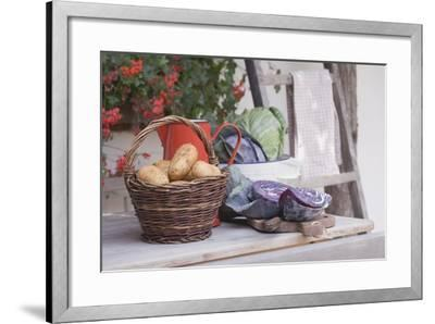 Rustic Still Life with Potatoes and Cabbage in Front of Farmhouse-Eising Studio - Food Photo and Video-Framed Photographic Print