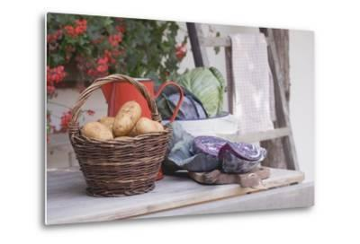 Rustic Still Life with Potatoes and Cabbage in Front of Farmhouse-Eising Studio - Food Photo and Video-Metal Print