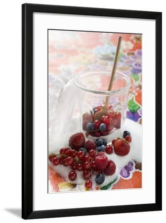 Fresh Berries in Jam Jar with Sugar and Wooden Spoon-Foodcollection-Framed Photographic Print