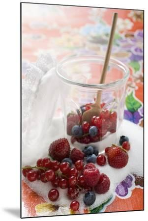 Fresh Berries in Jam Jar with Sugar and Wooden Spoon-Foodcollection-Mounted Photographic Print