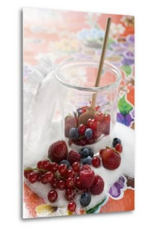 Fresh Berries in Jam Jar with Sugar and Wooden Spoon-Foodcollection-Metal Print