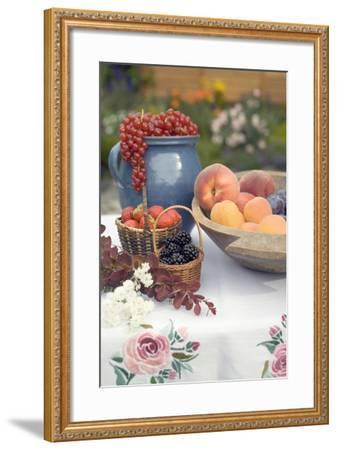 Summer Fruit Still Life on Table in Garden-Foodcollection-Framed Photographic Print