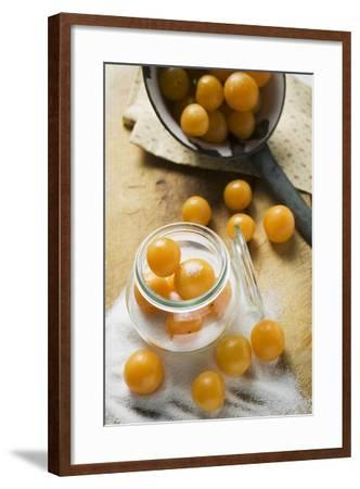 Mirabelles with Sugar and Preserving Jar-Foodcollection-Framed Photographic Print